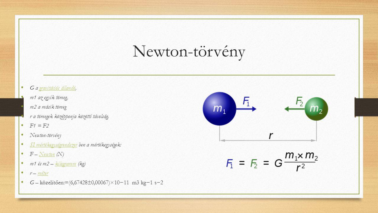 Newton-törvény G a gravitációs állandó,gravitációs állandó m1 az egyik tömeg, m2 a másik tömeg r a tömegek középponja közötti távolság. F1 = F2 Newton