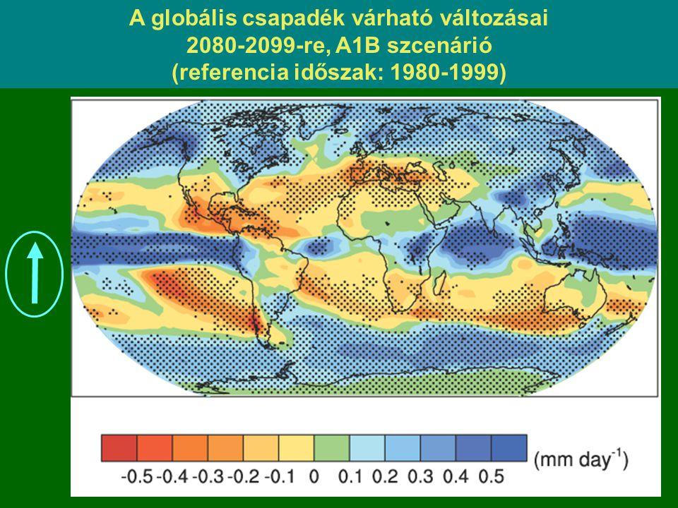A globális csapadék várható változásai 2080-2099-re, A1B szcenárió (referencia időszak: 1980-1999)