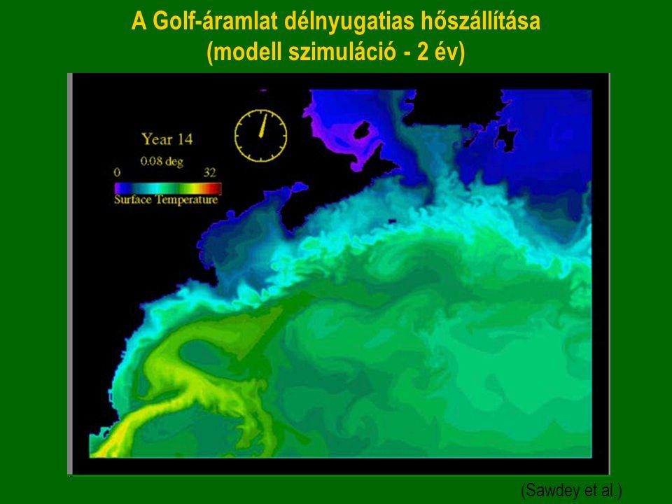 A Golf-áramlat délnyugatias hőszállítása (modell szimuláció - 2 év) (Sawdey et al.)