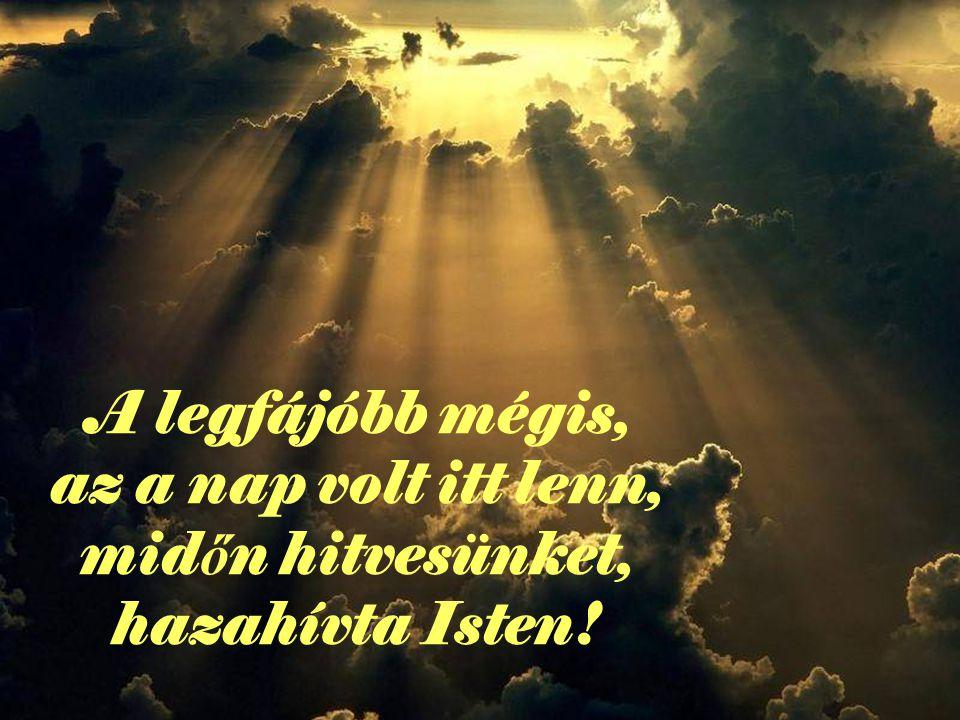 A legfájóbb mégis, az a nap volt itt lenn, mid ő n hitvesünket, hazahívta Isten!