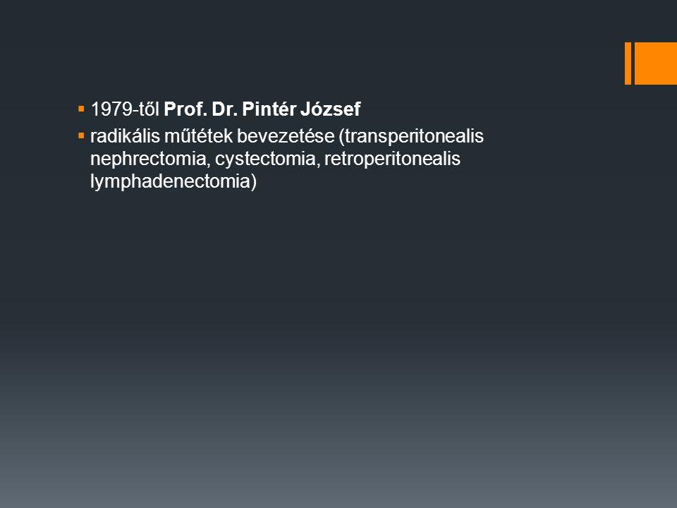  1979-től Prof. Dr. Pintér József  radikális műtétek bevezetése (transperitonealis nephrectomia, cystectomia, retroperitonealis lymphadenectomia)