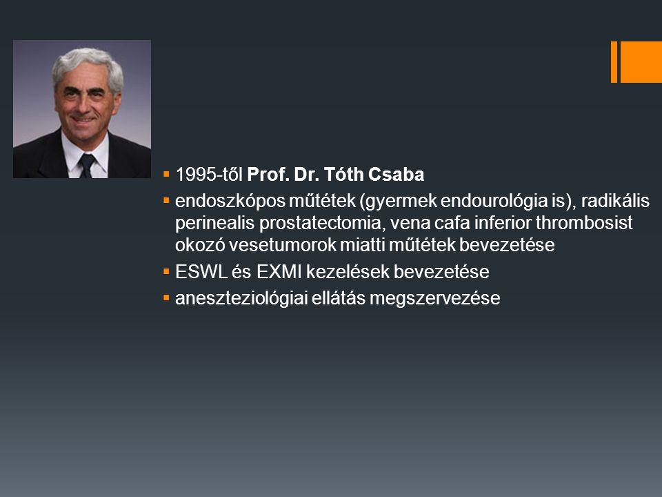  1995-től Prof. Dr. Tóth Csaba  endoszkópos műtétek (gyermek endourológia is), radikális perinealis prostatectomia, vena cafa inferior thrombosist o