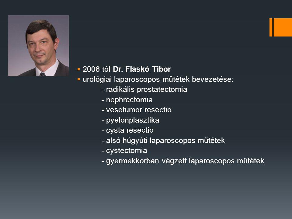  2006-tól Dr. Flaskó Tibor  urológiai laparoscopos műtétek bevezetése: - radikális prostatectomia - nephrectomia - vesetumor resectio - pyelonplaszt