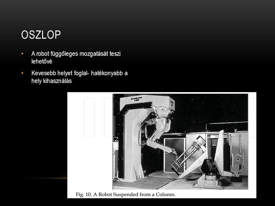 A robot függőleges mozgatását teszi lehetővé Kevesebb helyet foglal- hatékonyabb a hely kihasználás OSZLOP