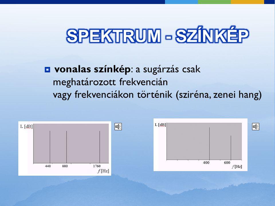 Spektrum (színkép): egy adott időpillanatban ábrázolja az egyes frekvenciákhoz tartozó hangnyomásszintet. Olyan függvény, amely amely megmutatja, hogy