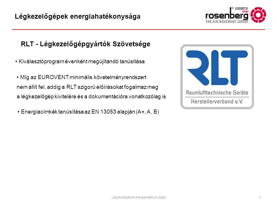 Kiválasztóprogram évenként megújítandó tanúsítása Míg az EUROVENT minimális követelményrendszert nem állít fel, addig a RLT szigorú előírásokat fogalm