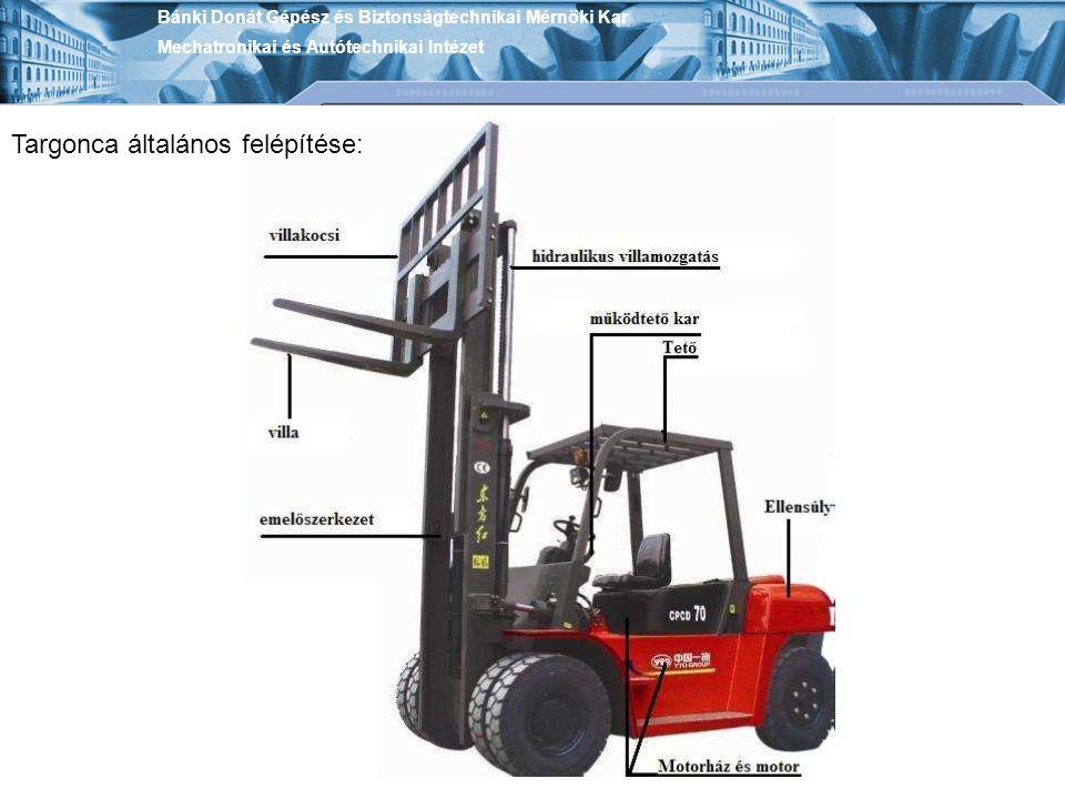 Elektromos gyalogvezérlésű targoncák Diesel targoncák Bánki Donát Gépész és Biztonságtechnikai Mérnöki Kar Mechatronikai és Autótechnikai Intézet