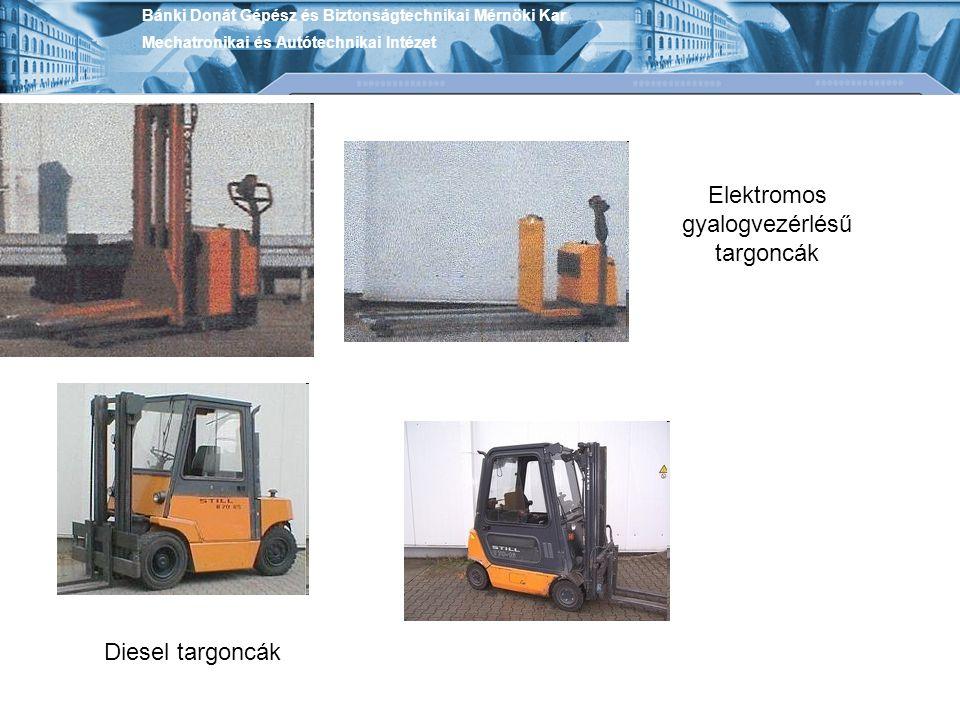 Elektromos targonca Gázzal működő targoncák Bánki Donát Gépész és Biztonságtechnikai Mérnöki Kar Mechatronikai és Autótechnikai Intézet
