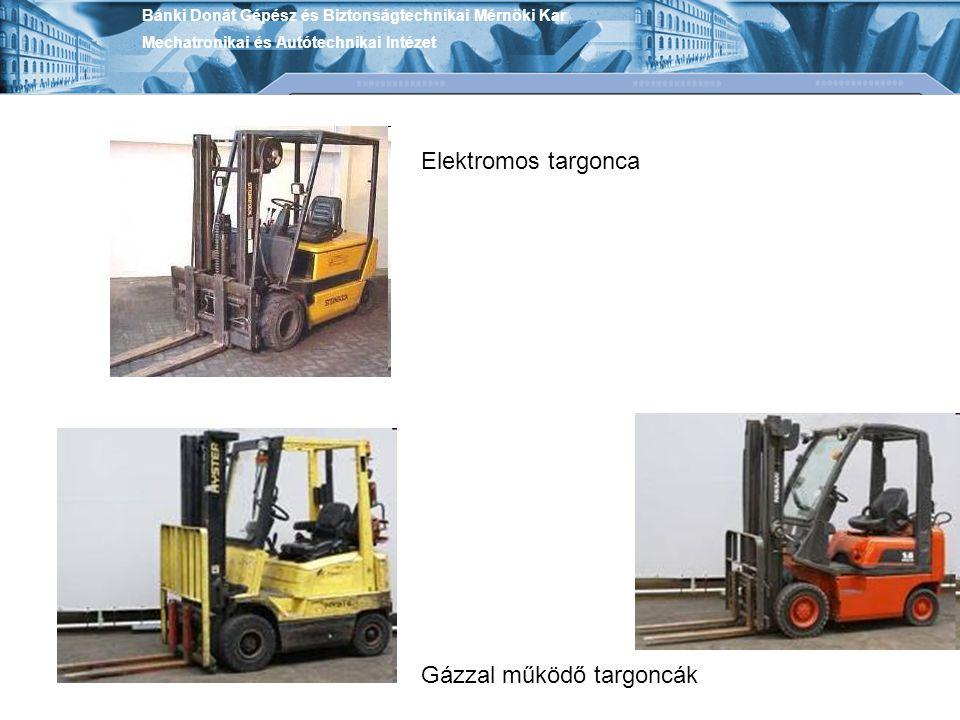 Bánki Donát Gépész és Biztonságtechnikai Mérnöki Kar Mechatronikai és Autótechnikai Intézet Targoncák biztonságos kialakítása, különleges környezetben üzemelő targoncák.