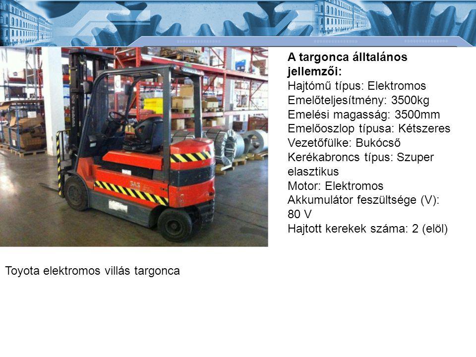 Toyota elektromos villás targonca A targonca álltalános jellemzői: Hajtómű típus: Elektromos Emelőteljesítmény: 3500kg Emelési magasság: 3500mm Emelőoszlop típusa: Kétszeres Vezetőfülke: Bukócső Kerékabroncs típus: Szuper elasztikus Motor: Elektromos Akkumulátor feszültsége (V): 80 V Hajtott kerekek száma: 2 (elöl)