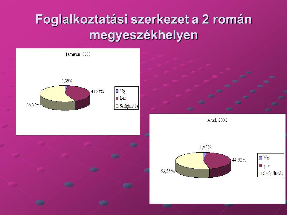 Foglalkoztatási szerkezet a 2 román megyeszékhelyen