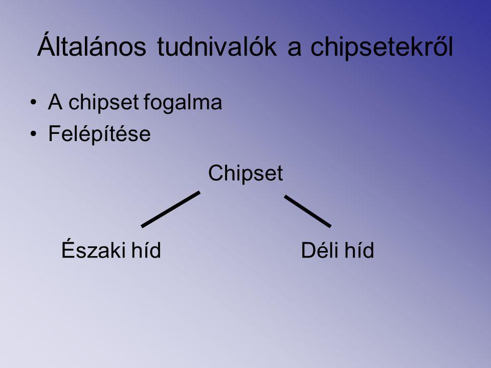 Általános tudnivalók a chipsetekről A chipset fogalma Felépítése Chipset Északi hídDéli híd