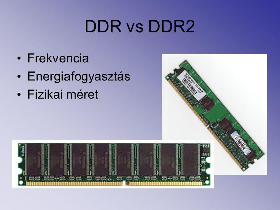 DDR vs DDR2 Frekvencia Energiafogyasztás Fizikai méret
