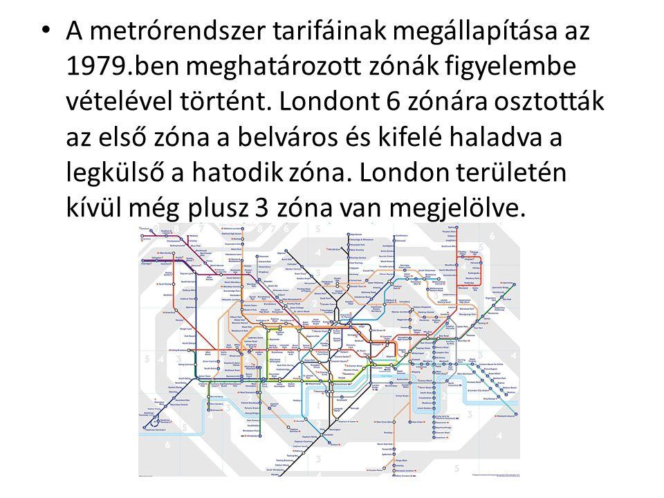 A metrórendszer tarifáinak megállapítása az 1979.ben meghatározott zónák figyelembe vételével történt.