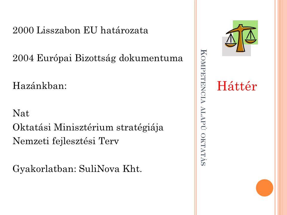 Háttér 2000 Lisszabon EU határozata 2004 Európai Bizottság dokumentuma Hazánkban: Nat Oktatási Minisztérium stratégiája Nemzeti fejlesztési Terv Gyako