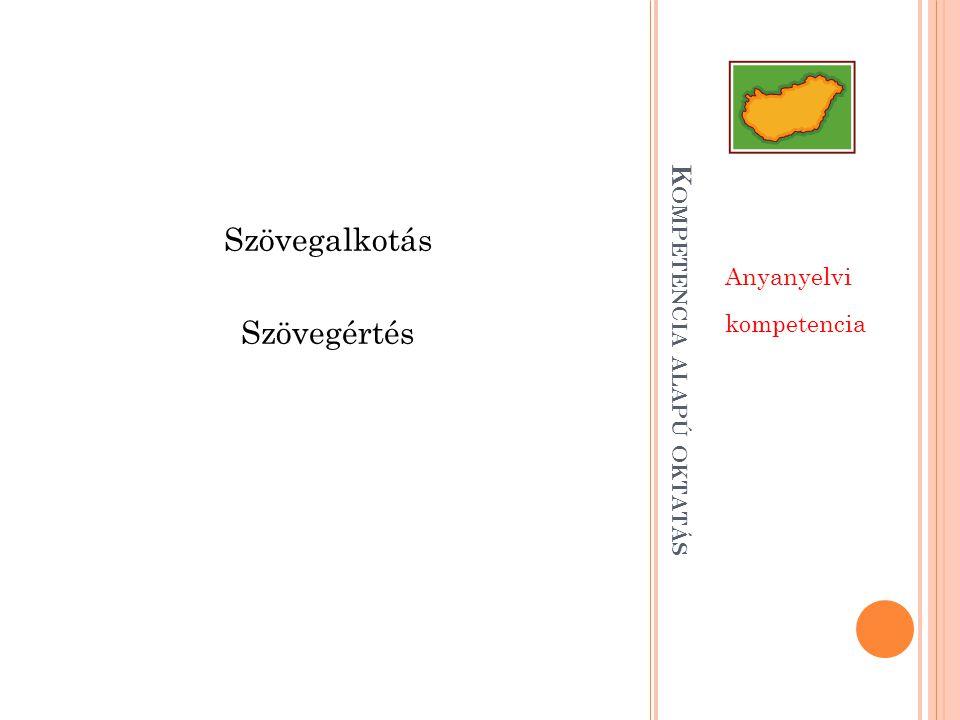 K OMPETENCIA ALAPÚ OKTATÁS Anyanyelvi kompetencia Szövegalkotás Szövegértés