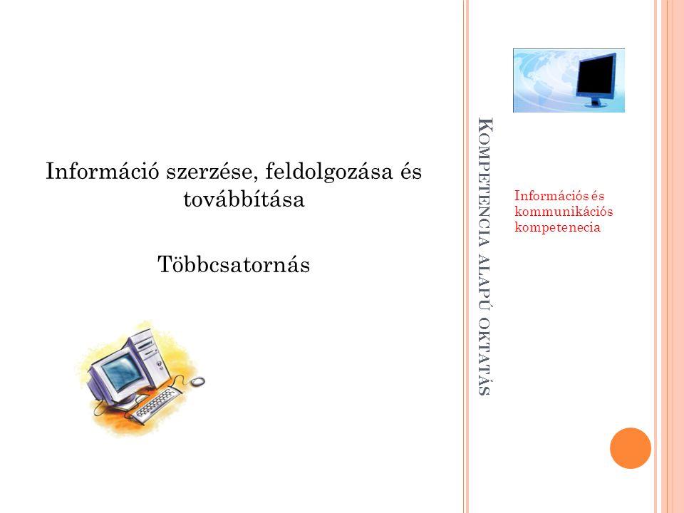 K OMPETENCIA ALAPÚ OKTATÁS Információs és kommunikációs kompetenecia Információ szerzése, feldolgozása és továbbítása Többcsatornás