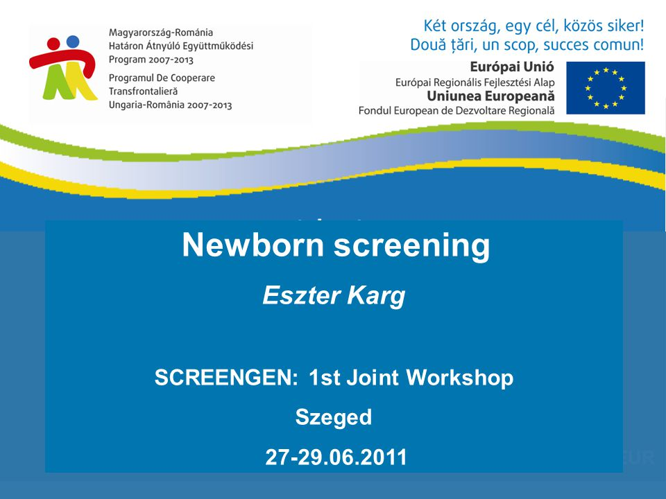 1 640 727,43 EUR Newborn screening Eszter Karg SCREENGEN: 1st Joint Workshop Szeged 27-29.06.2011