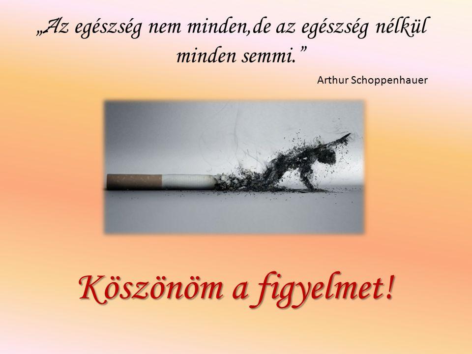 """"""" A z egészség nem minden,de az egészség nélkül minden semmi."""" Arthur Schoppenhauer Köszönöm a figyelmet!"""