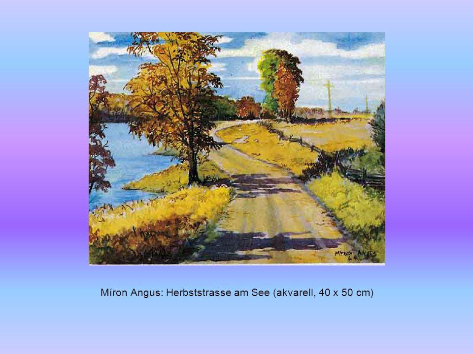 Margaret Greig: Fluss mit Spiegelbild (olaj, 30 x 46 cm)