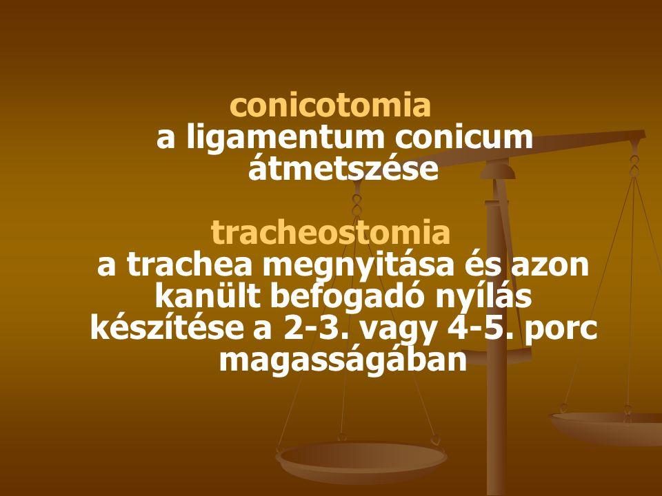 Tracheostomia electiv - a beteget szilárd alapra fektetjük - vállát alátámasztjuk, fejét hátrahajtjuk - tracheáig a következő rétegeken keresztül jutunk el: - bőr-platysma - felületes és középső nyaki fascia - a középvonalban szétválasztjuk az egyenes nyakizmokat (m.