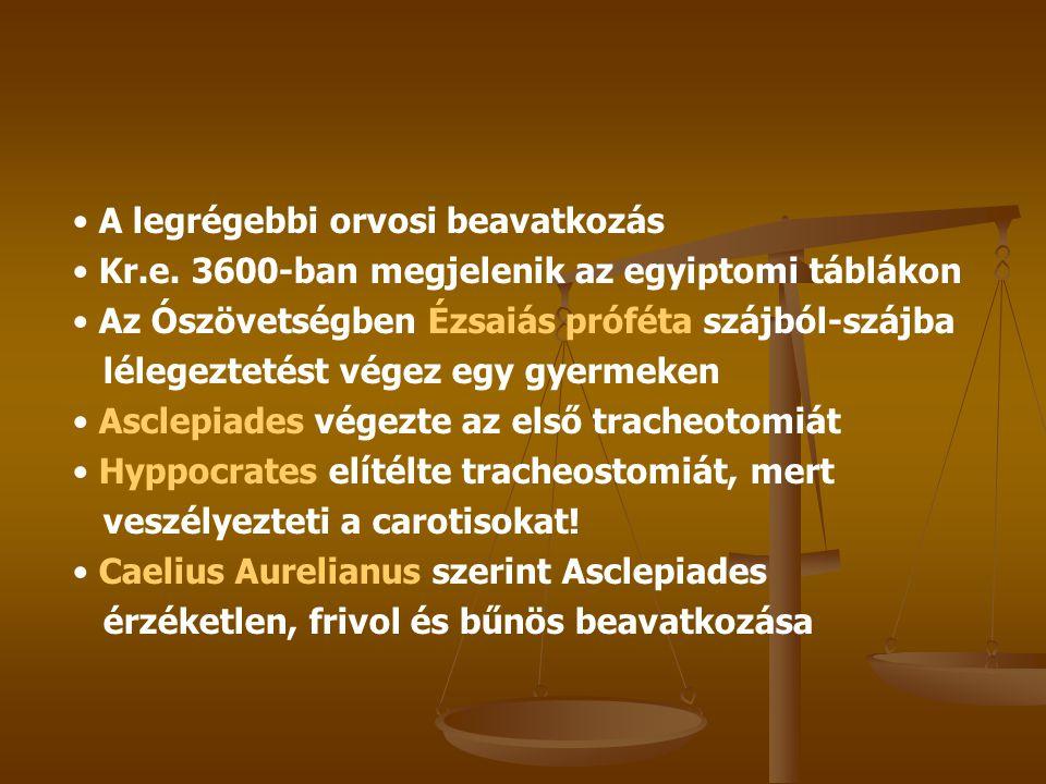 1546 Brasavola tonsillaris occlusiónál alkalmazta 1718 Lorenz Heister megalkotja a tracheotomia kifejezést 1805 Vicq d'Azyr leírja a conicotomiát 1921 Chevalier Jackson leírja a tracheostomia indikációit és kivitelezését 1932 Wilson polyomyelitises esetekben ajánlja a prophylacticus tracheostomiát