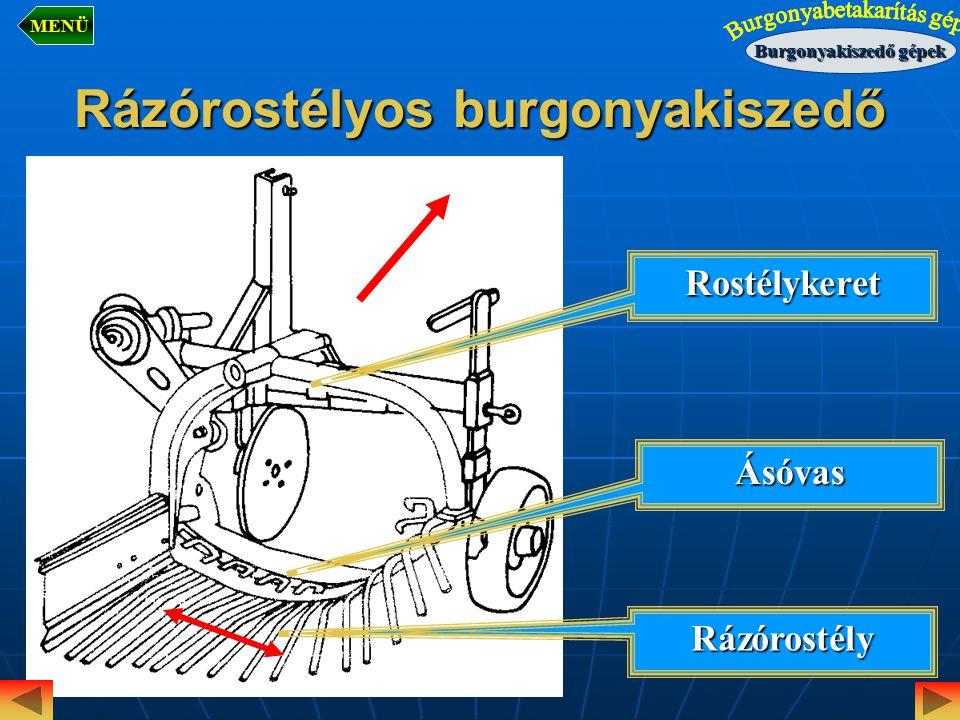 Rázórostélyos burgonyakiszedő Rázórostély Rostélykeret Ásóvas Burgonyakiszedő gépek MENÜ