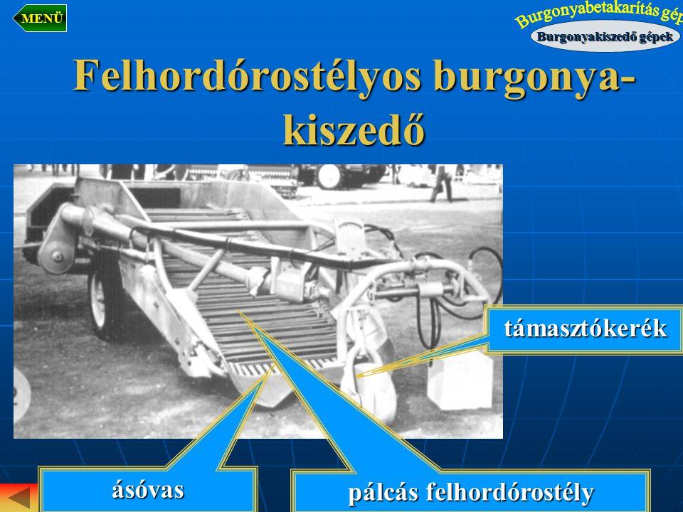 Felhordórostélyos burgonya- kiszedő pálcás felhordórostély támasztókerék ásóvas Burgonyakiszedő gépek MENÜ