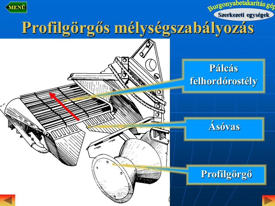 Pálcás felhordórostély Profilgörgő Ásóvas Profilgörgős mélységszabályozás Szerkezeti egységek MENÜ