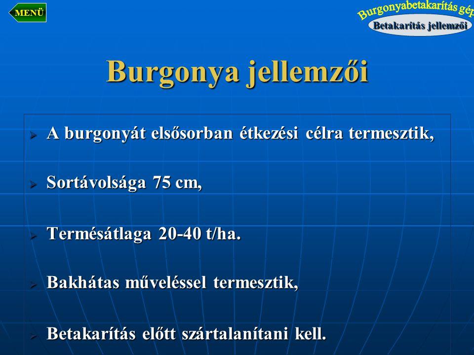  A burgonyát elsősorban étkezési célra termesztik,  Sortávolsága 75 cm,  Termésátlaga 20-40 t/ha.  Bakhátas műveléssel termesztik,  Betakarítás e