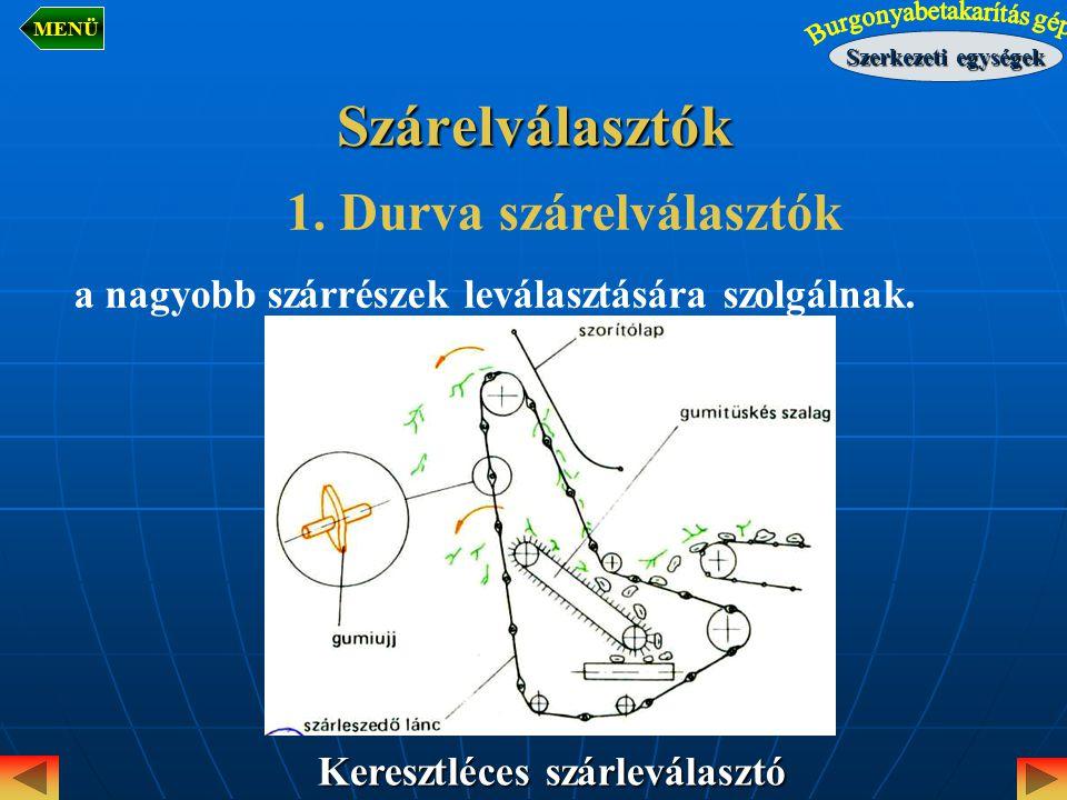 Szárelválasztók Keresztléces szárleválasztó 1. Durva szárelválasztók a nagyobb szárrészek leválasztására szolgálnak. Szerkezeti egységek MENÜ