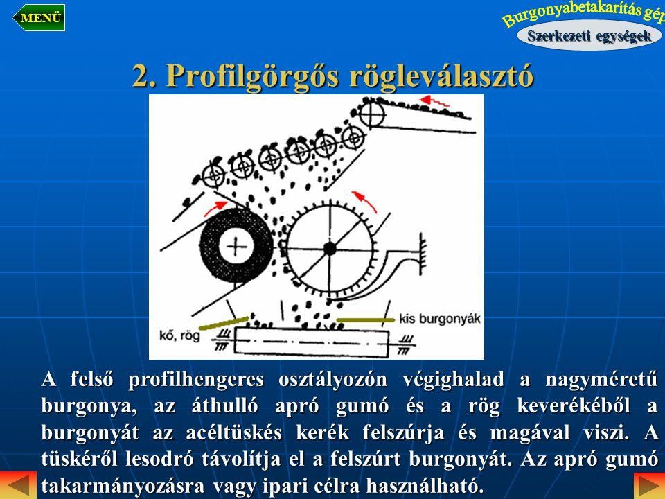 2. Profilgörgős rögleválasztó A felső profilhengeres osztályozón végighalad a nagyméretű burgonya, az áthulló apró gumó és a rög keverékéből a burgony