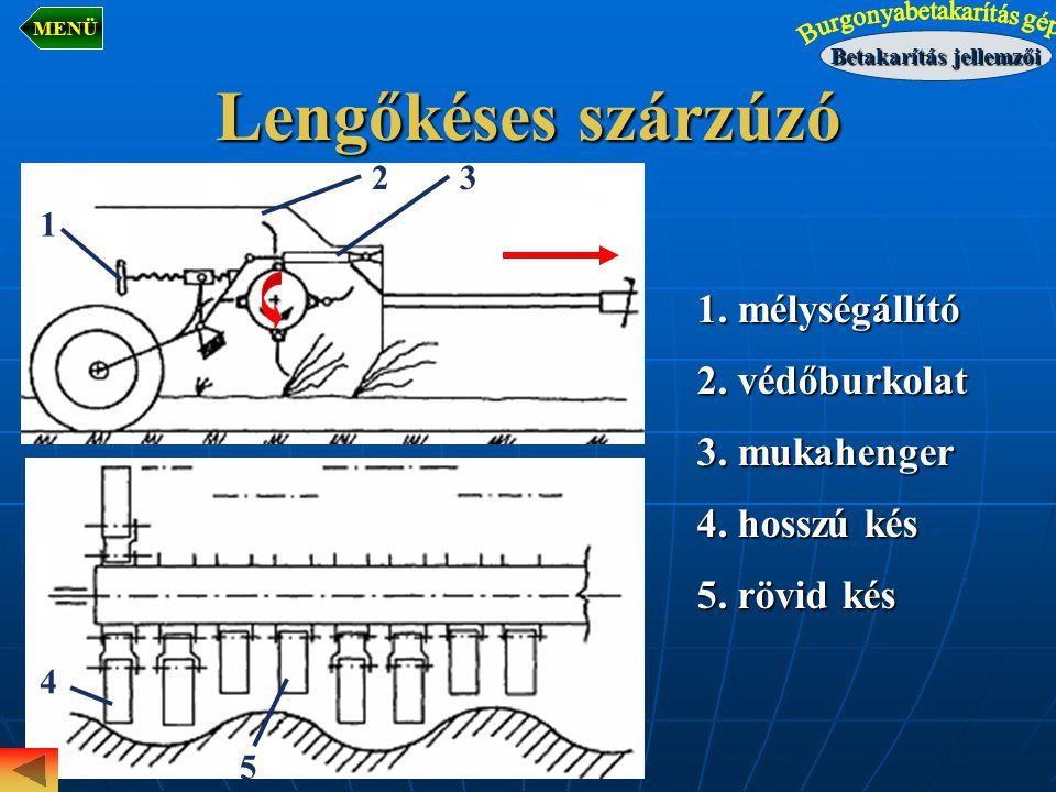 Lengőkéses szárzúzó 1. mélységállító 2. védőburkolat 3. mukahenger 4. hosszú kés 5. rövid kés 1 5 4 32 Betakarítás jellemzői MENÜ