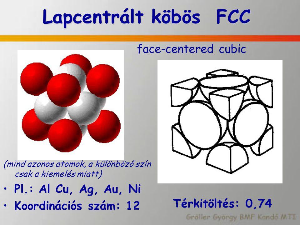 Lapcentrált köbös FCC Lapcentrált köbös FCC face-centered cubic (mind azonos atomok, a különböző szín csak a kiemelés miatt) Pl.: Al Cu, Ag, Au, Ni Ko