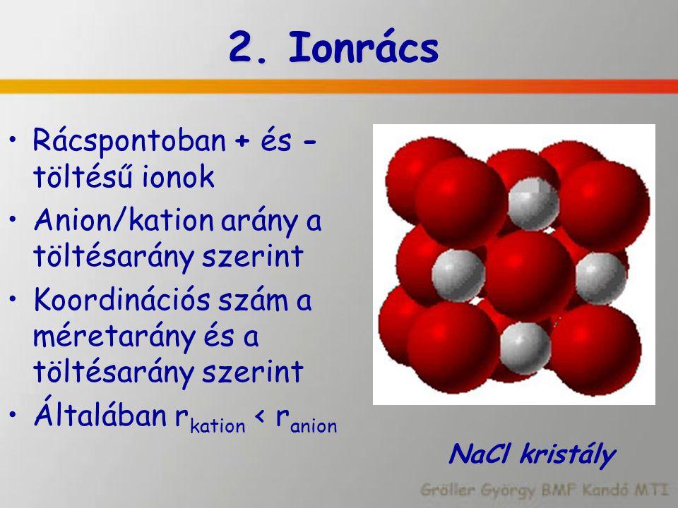 2. Ionrács Rácspontoban + és - töltésű ionok Anion/kation arány a töltésarány szerint Koordinációs szám a méretarány és a töltésarány szerint Általába