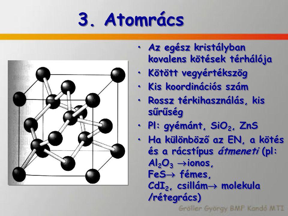 3. Atomrács Az egész kristályban kovalens kötések térhálója Kötött vegyértékszög Kis koordinációs szám Rossz térkihasználás, kis sűrűség Pl: gyémánt,