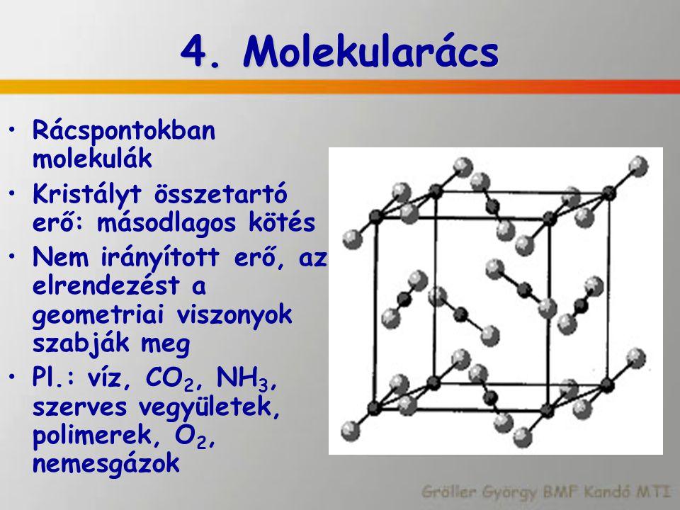 4. Molekularács Rácspontokban molekulák Kristályt összetartó erő: másodlagos kötés Nem irányított erő, az elrendezést a geometriai viszonyok szabják m
