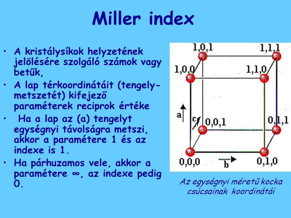 Miller index A kristálysíkok helyzetének jelölésére szolgáló számok vagy betűk, A lap térkoordinátáit (tengely- metszetét) kifejező paraméterek recipr