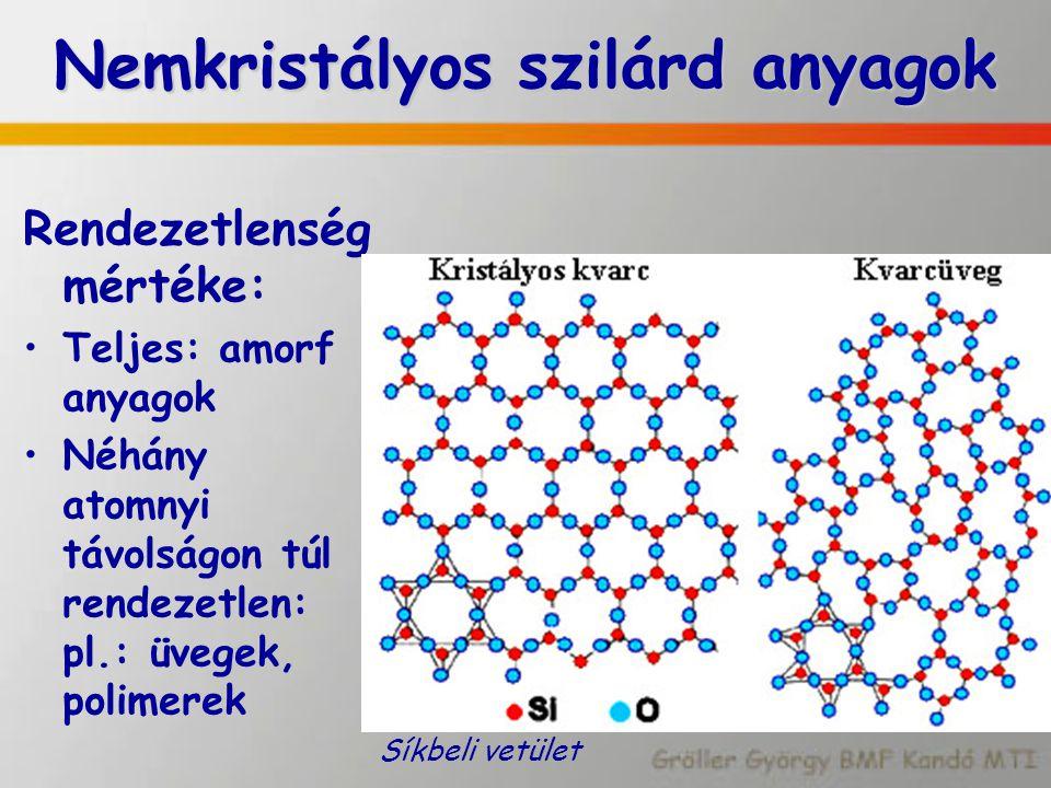 Nemkristályos szilárd anyagok Rendezetlenség mértéke: Teljes: amorf anyagok Néhány atomnyi távolságon túl rendezetlen: pl.: üvegek, polimerek Síkbeli