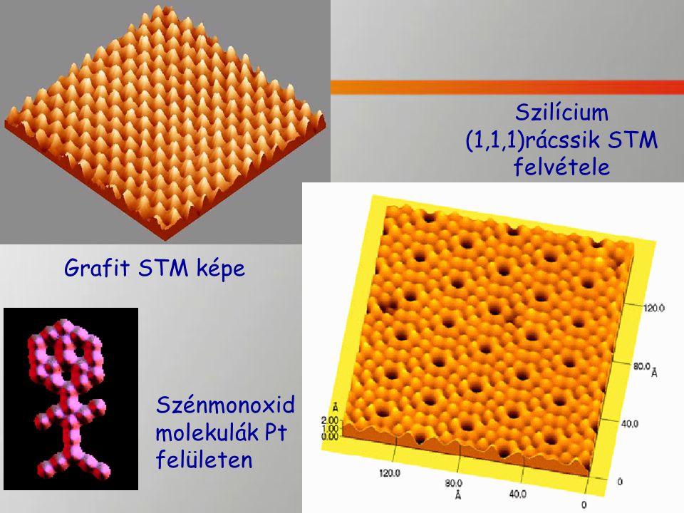 Grafit STM képe Szilícium (1,1,1)rácssik STM felvétele Szénmonoxid molekulák Pt felületen
