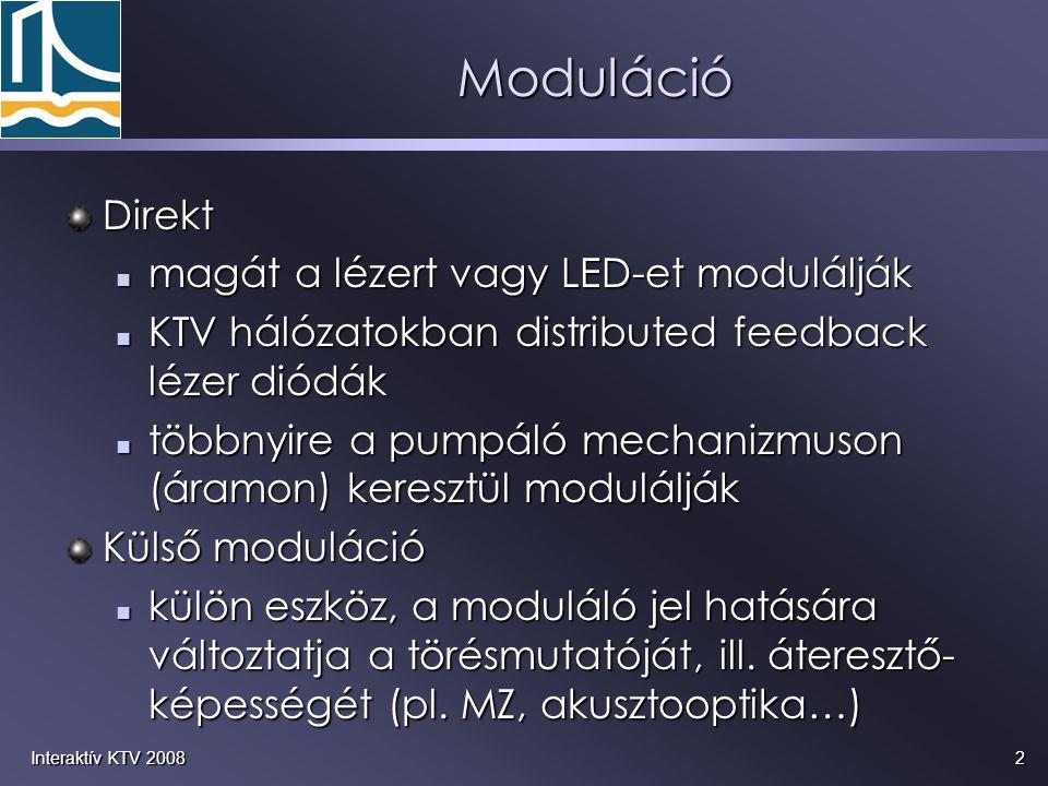 2Interaktív KTV 2008 Moduláció Direkt magát a lézert vagy LED-et modulálják magát a lézert vagy LED-et modulálják KTV hálózatokban distributed feedback lézer diódák KTV hálózatokban distributed feedback lézer diódák többnyire a pumpáló mechanizmuson (áramon) keresztül modulálják többnyire a pumpáló mechanizmuson (áramon) keresztül modulálják Külső moduláció külön eszköz, a moduláló jel hatására változtatja a törésmutatóját, ill.