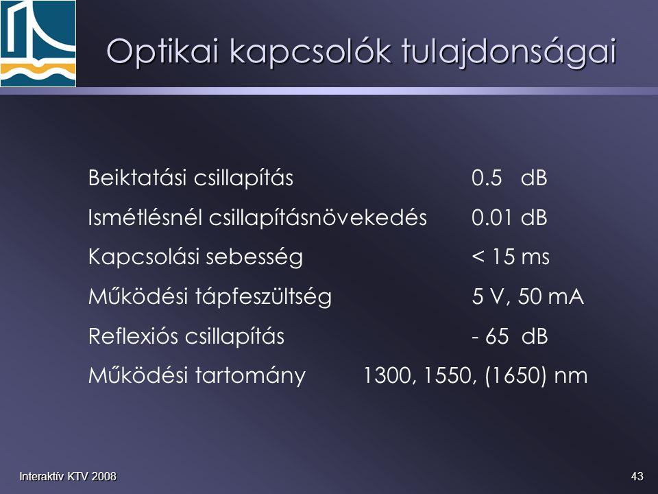 43Interaktív KTV 2008 Optikai kapcsolók tulajdonságai Beiktatási csillapítás0.5 dB Ismétlésnél csillapításnövekedés0.01 dB Kapcsolási sebesség< 15 ms Működési tápfeszültség5 V, 50 mA Reflexiós csillapítás- 65 dB Működési tartomány1300, 1550, (1650) nm