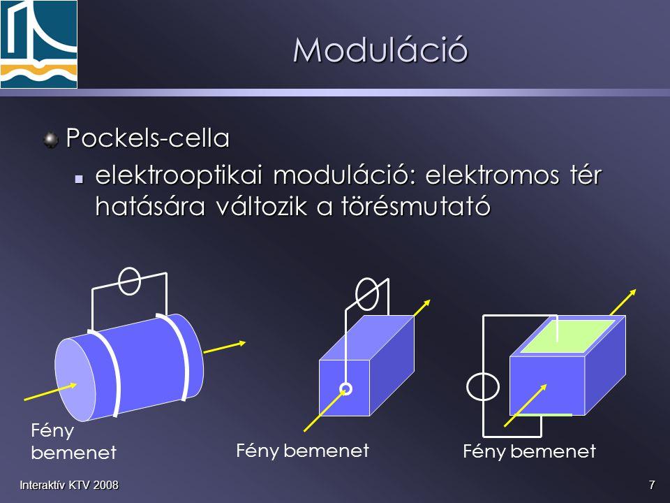 8Interaktív KTV 2008 akusztooptikai modulátor egy piezoelektromos jelátalakító akusztikus hullámokat kelt a kristályban, egy piezoelektromos jelátalakító akusztikus hullámokat kelt a kristályban, a sűrűségváltozás hatására változik a törésmutató: optikai rács keletkezik a sűrűségváltozás hatására változik a törésmutató: optikai rács keletkezik a rácson szóródnak a fényhullámok a rácson szóródnak a fényhullámok Moduláció piezo- elektromos kristály elnyelő szál
