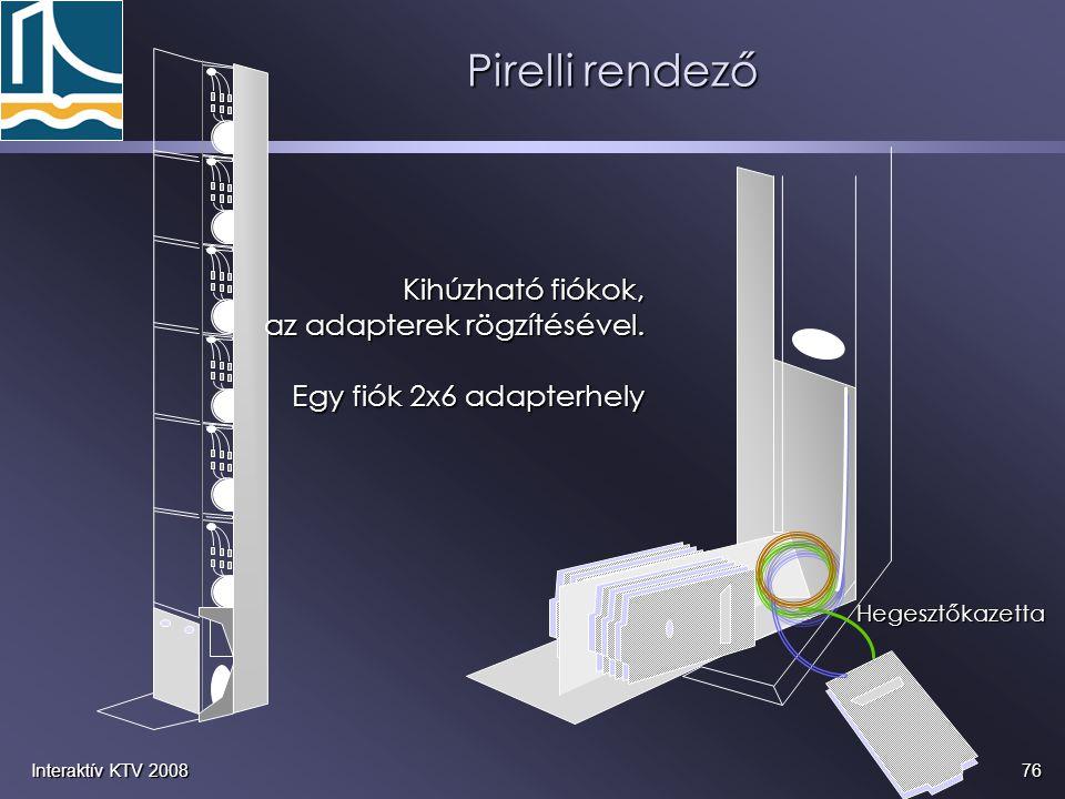 76Interaktív KTV 2008 Pirelli rendező Hegesztőkazetta Kihúzható fiókok, az adapterek rögzítésével. Egy fiók 2x6 adapterhely