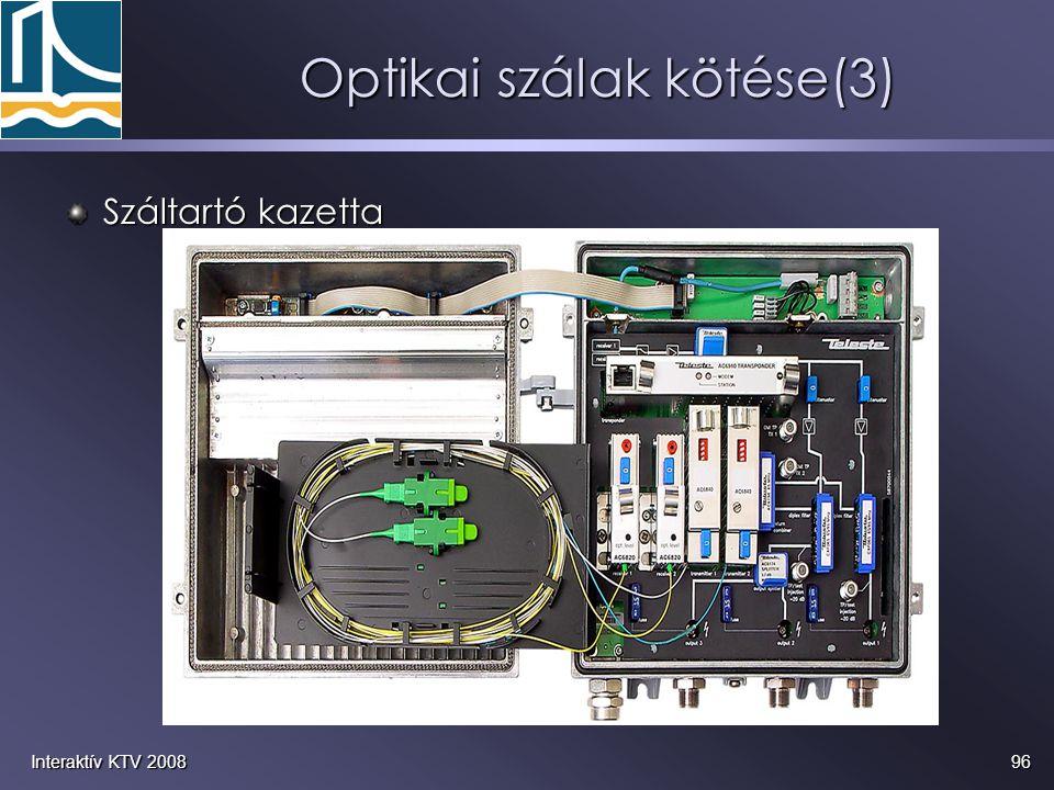 96Interaktív KTV 2008 Optikai szálak kötése(3) Száltartó kazetta
