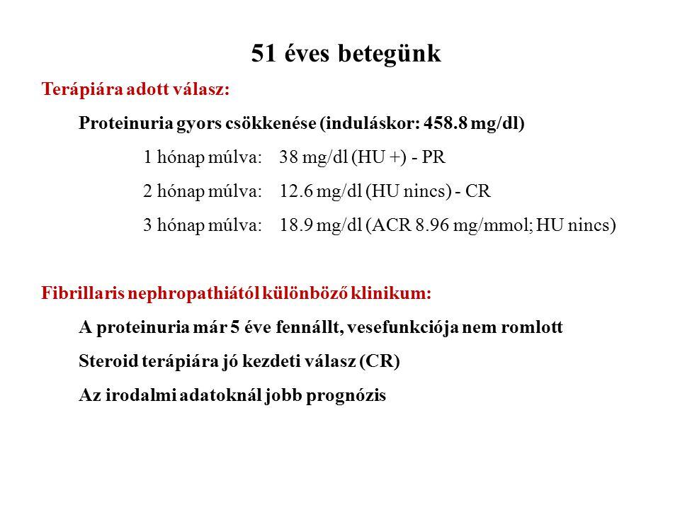 51 éves betegünk Terápiára adott válasz: Proteinuria gyors csökkenése (induláskor: 458.8 mg/dl) 1 hónap múlva: 38 mg/dl (HU +) - PR 2 hónap múlva:12.6