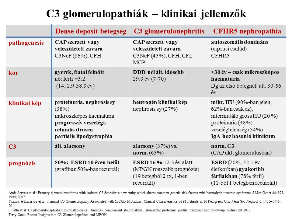 C3 glomerulopathiák – klinikai jellemzők Dense deposit betegségC3 glomerulonephritisCFHR5 nephropathia pathogenesis CAP szerzett vagy veleszületett za