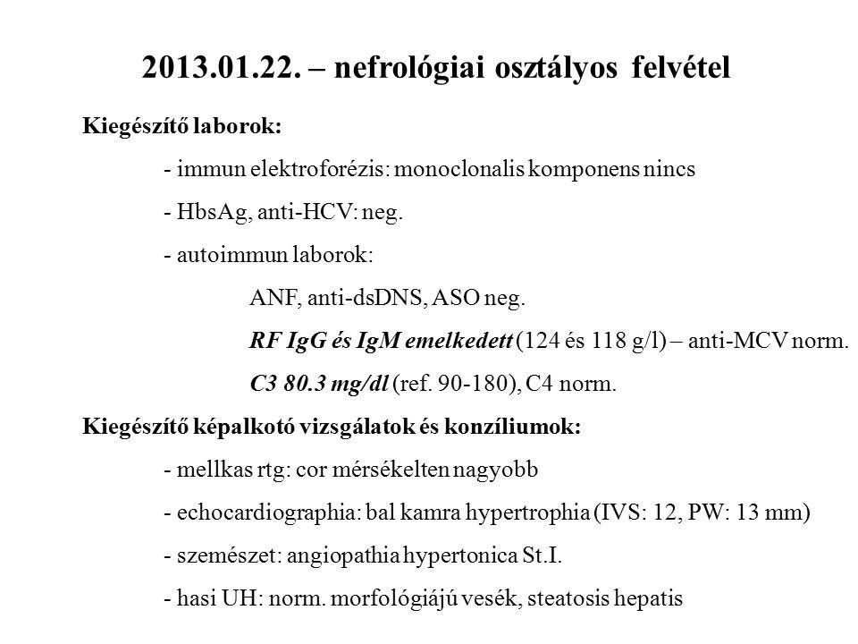 2013.01.22. – nefrológiai osztályos felvétel Kiegészítő laborok: - immun elektroforézis: monoclonalis komponens nincs - HbsAg, anti-HCV: neg. - autoim