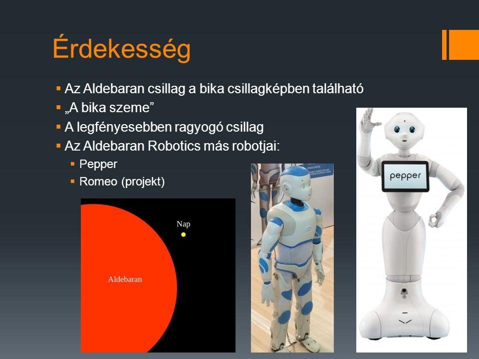 """Érdekesség  Az Aldebaran csillag a bika csillagképben található  """"A bika szeme""""  A legfényesebben ragyogó csillag  Az Aldebaran Robotics más robot"""