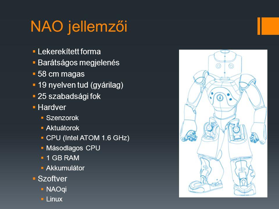 NAO jellemzői  Lekerekített forma  Barátságos megjelenés  58 cm magas  19 nyelven tud (gyárilag)  25 szabadsági fok  Hardver  Szenzorok  Aktuá